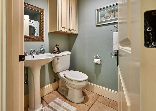 bathroom by the theater room