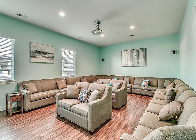 Theater room with sitting up to 30 guests