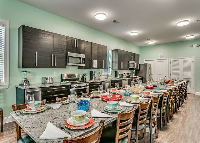Huge kitchen with 2 cooking areas  2 stoves  2 microwaves 2 dishwashers