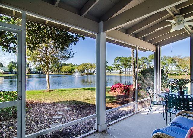 Screen porch with view to the lake