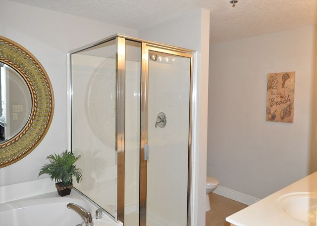 Walk in shower and oversized garden tub in master bathroom