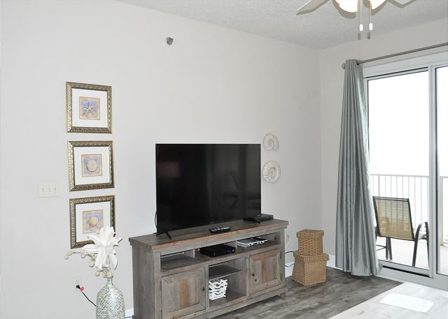 "Large 50"" flat screen TV in living area"