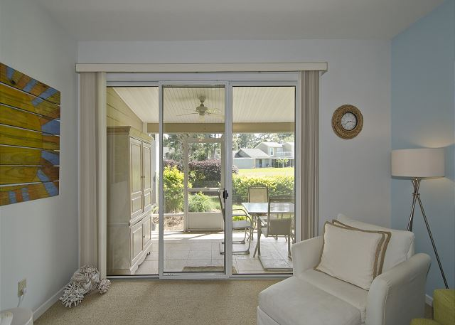 Sliding glass door leading out to the back porch