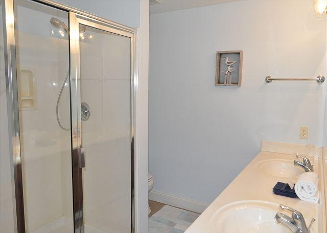 Master bath with double vanity sinks
