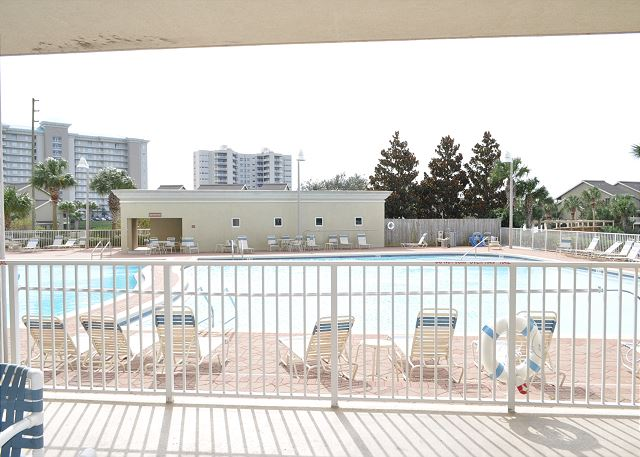 Large patio overlooking pool