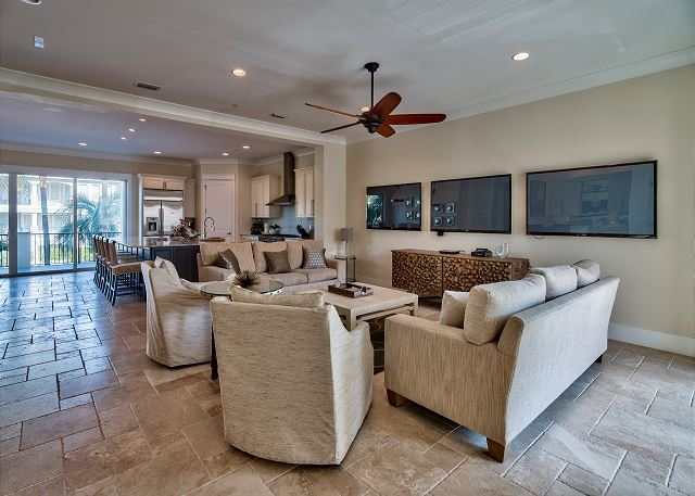 Second Floor Living Area with 3 Flat Screen TV's!