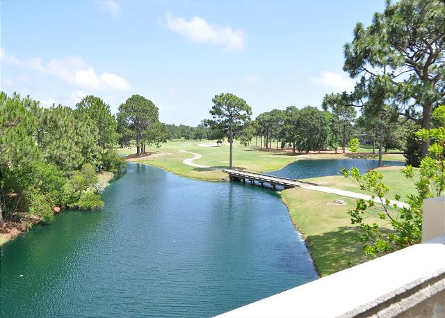 Balcony view of lake and golf course
