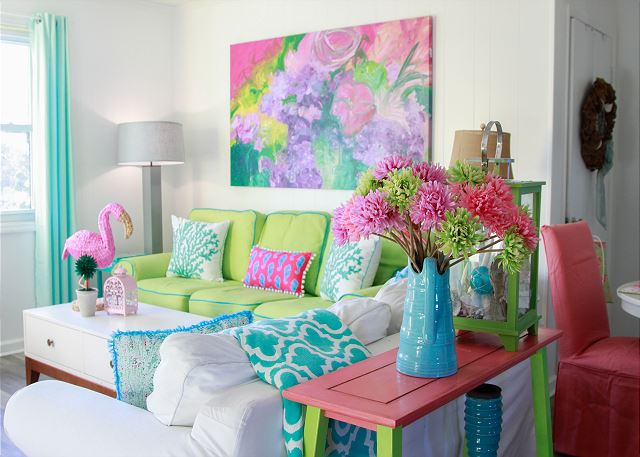 Welcome to colorful, adorable Coastal Joy!  Come in and we'll show you around!  Living area with lots of comfy seating!