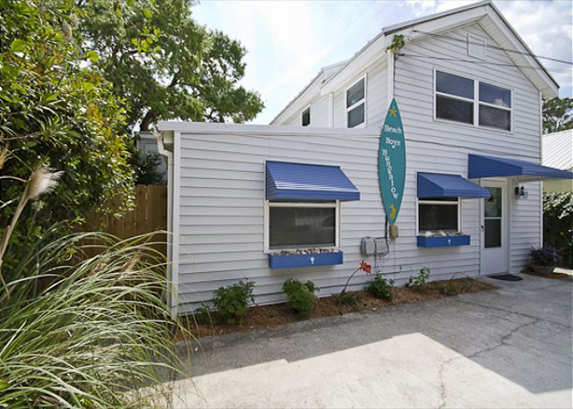 This is the front of the home.  There is parking in the front for three cars. This home is exacatly one block from the ocean and in the center of the island.  An easy walk or bike ride to almost everything on Tybee!