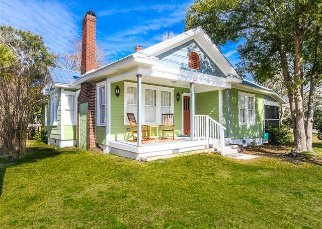 Welcome To Flips Flop House C1926 Fully Red Historic Tybee Beach Cottage View Of Back River From Front Porch Full Vintage Charm Details