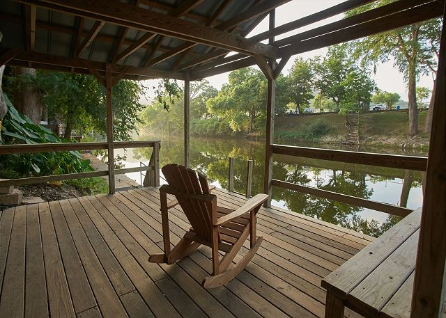 Enjoy the covered dock right on the Guadalupe River!