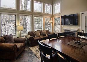living room and dining room view
