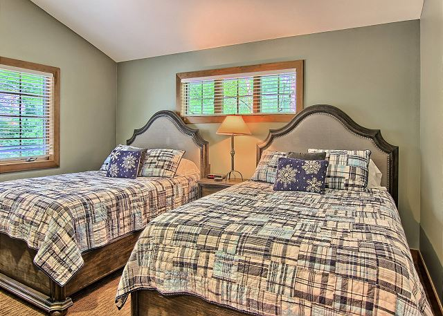 Second Bedroom with Two Queen Beds, Flat Screen TV, and DVD Player