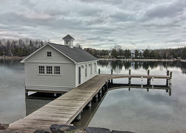 """Great boathouse located on the """"narrows"""" of Lake Charlevoix near Ironton"""