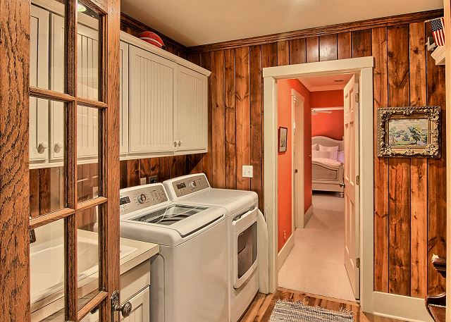 Laundry room and entry to master suite