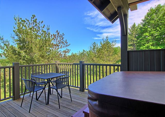 Private Deck with Hot Tub and Additional Dining Area