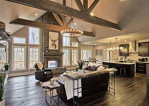 Extraordinary great room opening up to kitchen and dining area.  A great place for gathering!