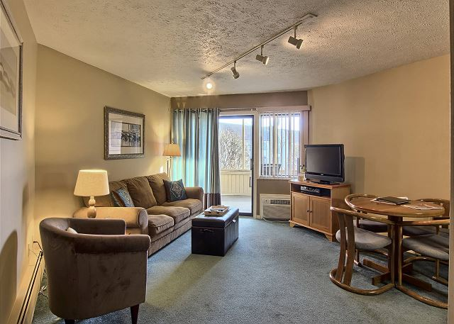This comfortable living room includes a sleeper sofa couch, a chair with a detachable foot rest, TV with DVD player,
