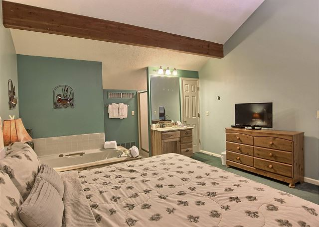 The loft has a comfortable king sized bed, two bedside tables, a dresser, closet and TV with cable