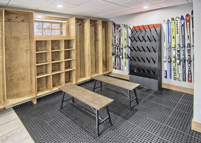 lower level entrance/private ski locker room