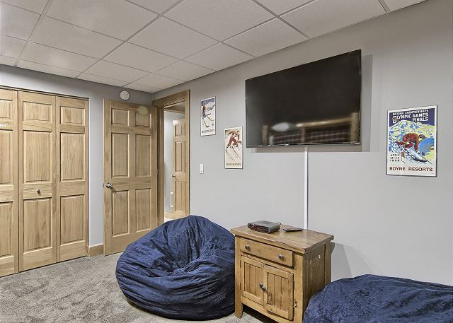 Bunk Room with Bean Bags and Flat Screen TV - Lower Level