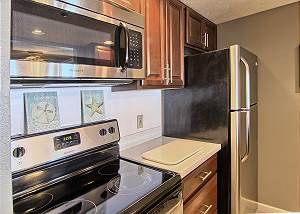 Recently remodeled kitchen with stainless steel appliances