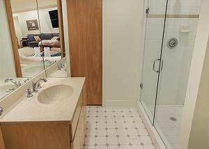 lower level full bathroom located in living room area