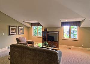 View of the living area from the stairwell
