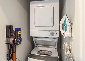 In-unit washer and dryer located on the third floor.