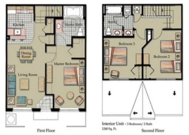 3 Bedroom Townhome Floor Plan at The Villas at Seven Dwarfs