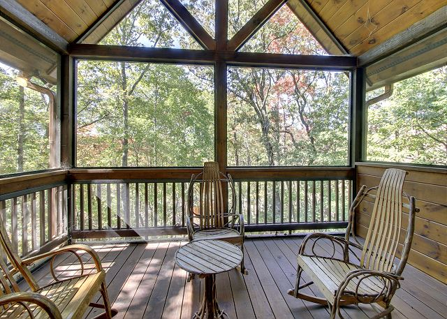 All Decks are Screened at the cabin but this is your own private deck off the master bedroom