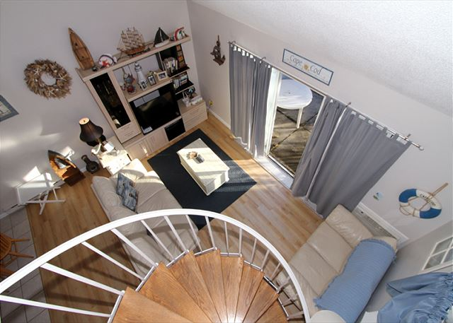 Living area from spiral staircase