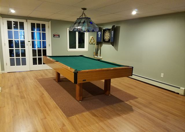 Pool table in lower level