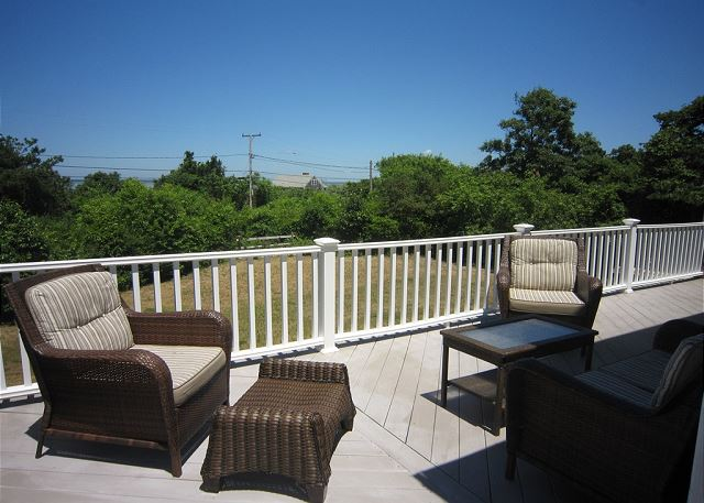 Deck with comfortable outdoor furniture