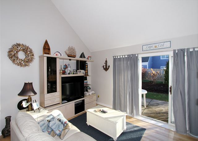 Living area with sliding doors to patio