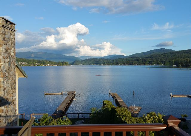 View from back deck overlooking gorgeous Lake Whatcom and dock access.