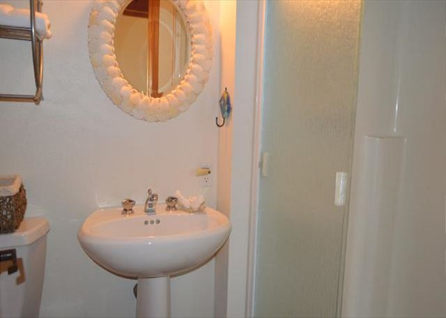 Full bathroom with shower stall.