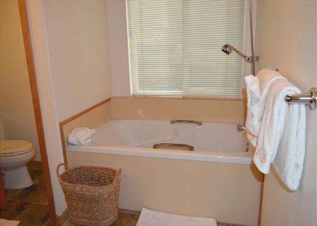 Soaker tub in the master bath