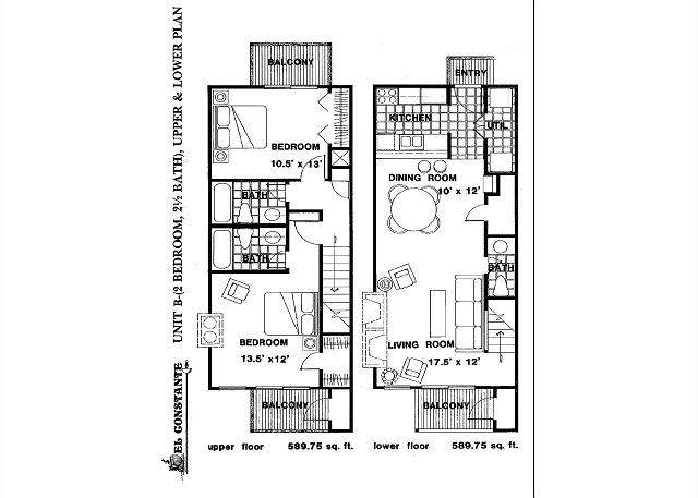 Some aspects of the layout may differ but this is the general floor plan of the 2 bedroom units at El Constante