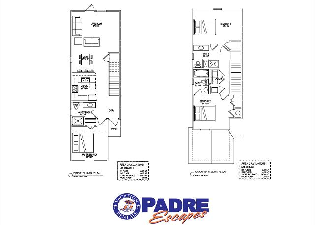 1st and 2nd level floor plan, 1430sf