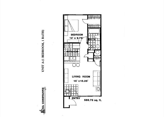 Some aspects of the layout may differ but this is the general floor plan of the one bedroom units at El Constante