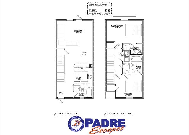 1st and 2nd level floor plan, 1120sf