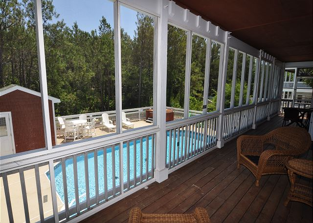 Screened Porch of Serendipity, a 5 bedroom, 4.5 bathroom vacation rental in Corolla, NC