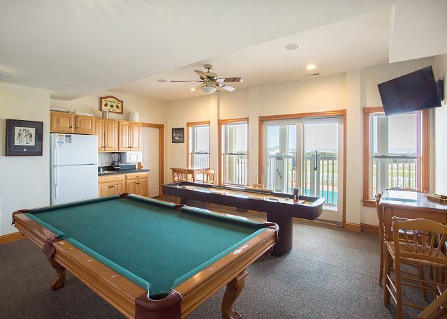 Pool Table Ground Level of Nittany Vista, a 7 bedroom, 7.5 bathroom vacation rental in Corolla, NC