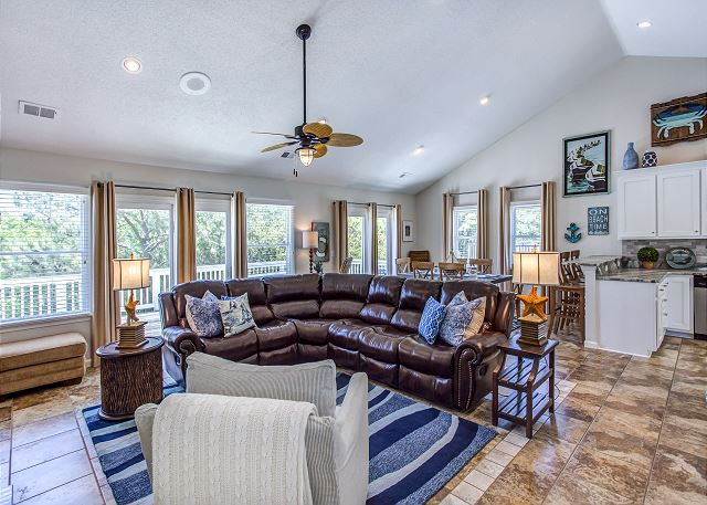 Great Room Top Level of Just Fore Fun, a 4 bedroom, 3.5 bathroom vacation rental in Corolla, NC