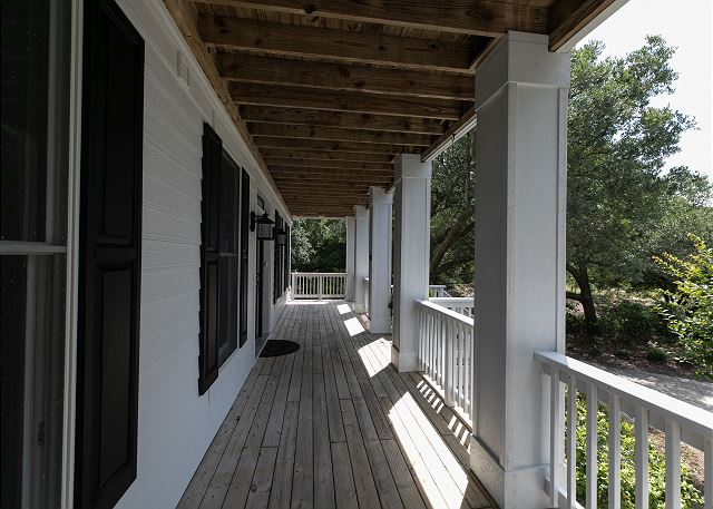 Front porch entry level of Southern Breeze, a 5 bedroom, 4.5 bathroom vacation rental in Corolla, NC