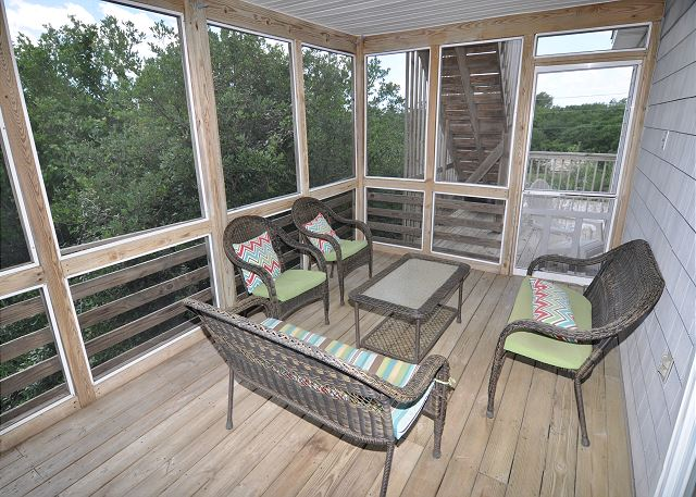 Screened porch Sunset Strip is a 5 bedroom, 3.0 bathroom vacation rental in Corolla, NC