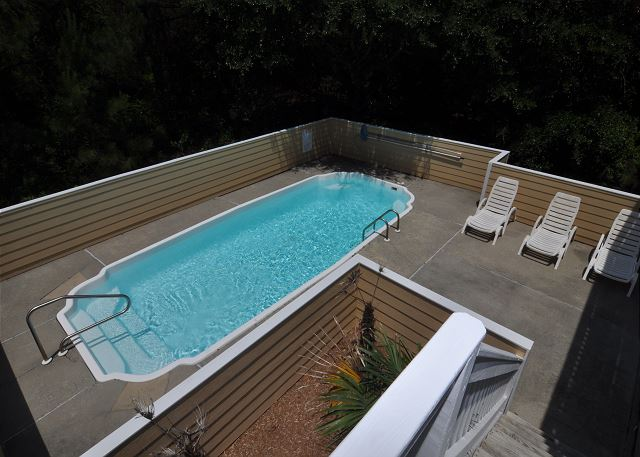Pool Patio of Amazing Grace, a 4 bedroom, 3.5 bathroom vacation rental in Corolla, NC