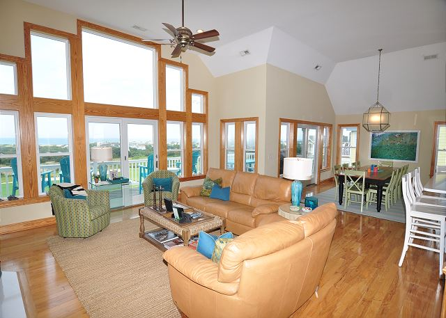 Great Room Top Level of Sand Simeon, a 7 bedroom, 7.5 bathroom vacation rental in Corolla, NC