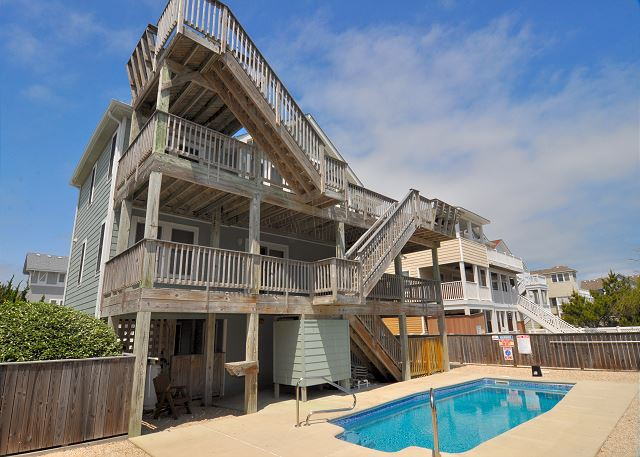 Pool Patio of OB Wave, a 5 bedroom, 3.5 bathroom vacation rental in Corolla, NC
